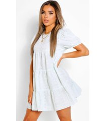 petite broderie tiered puff sleeve smock dress, mint
