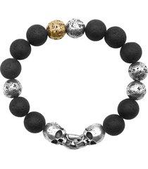 john varvatos distressed sterling silver & stone skull bead bracelet in black at nordstrom