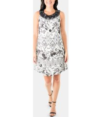 ny collection printed lace-trim dress