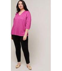 camiseta básica unicolor con escote en v. en color rosado rosado 16