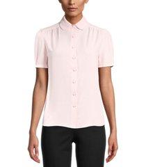 anne klein cap-sleeve button-up blouse