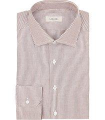 camicia da uomo su misura, canclini, cotone lino rigato, primavera estate | lanieri