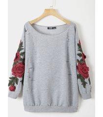 sudadera de manga larga redonda gris floral cuello