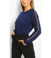 side stripe sweater, indigo