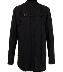 julius belted chest shirt - black