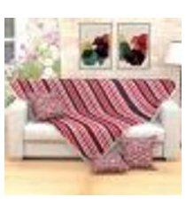 manta xale para sofá vermelha listrada 1,50m x 1,50m + 3 almofadas decorativas 45cm x 45cm com refil