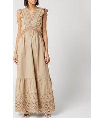 self-portrait women's cotton broderie sleeveless maxi dress - light beige - uk 12