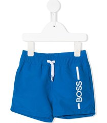 boss kidswear leg logo swim shorts - blue