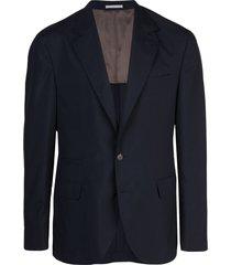 brunello cucinelli v-neck suit jacket - blue