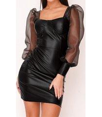 mangas abullonadas de cuero pu negro mini vestido