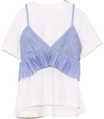 cotton poplin pullover in stripe/off white