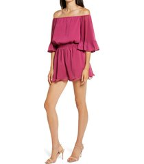 women's endless rose off the shoulder ruffle sleeve romper, size x-small - pink