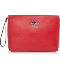 kenzo designer handbags, cut out leather gusset pouch