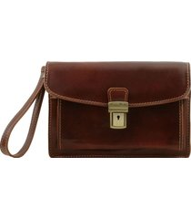 tuscany leather tl8075 max - borsello a mano in pelle marrone