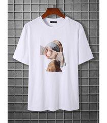koyye men casual figure print t-shirt