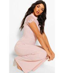 high neck lace 2-1 cap sleeve jumpsuit, blush
