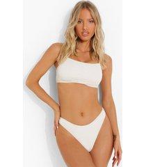 gekreukelde bikini top met vierkante hals en vollere cups, ecru