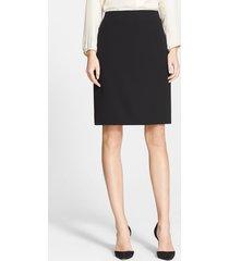 women's akris double face wool pencil skirt, size 14 - black