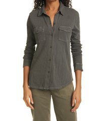 women's rails the jersey long sleeve button-up cotton shirt, size x-small - grey