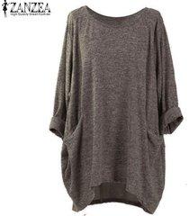 zanzea pullover bolsillos tops mujeres o cuello de manga larga sólido blusas flojas ocasionales -moca