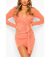 long sleeve wrap mini dress, coral