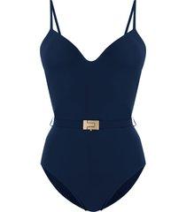 tory burch t-belt swimsuit - blue