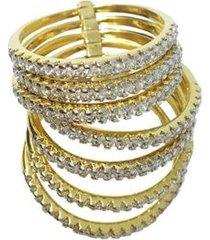 anel 7 aliancas da felicidade semijoia banho de ouro 18k com zirconia e rodio feminino