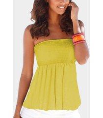 yoins amarillo sin respaldo diseño camisa sin tirantes fruncida