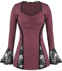 plus size lace panel ruched ruffle cuff tee