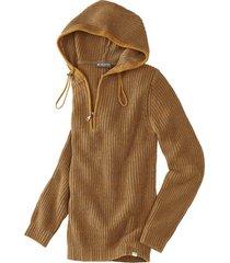 grof gebreide pullover met capuchon en zipper, saffraan-melange xl