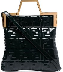 fendi ff embossed patent leather tote bag - green