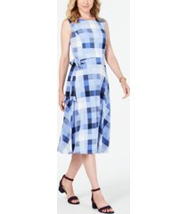 charter club petite plaid midi dress, created for macy's