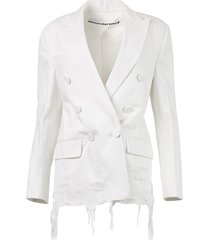 double breasted denim blazer with frayed hem, white