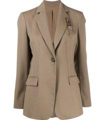 brunello cucinelli fitted waist long-length blazer - brown