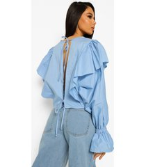 blouse met open rug met strik en ruches, powder blue
