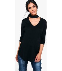 maternity ava choker ribbed sweater, black