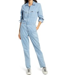 women's lee union all long sleeve utility jumpsuit, size x-small - blue