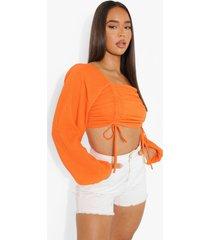 geplooide top met volle mouwen, orange