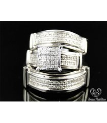 bride & groom engagement ring wedding band trio set diamond white gold plated