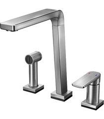 misturador monocomando para cozinha mesa bistrô tech com ducha manual grafite escovado - 00699470 - docol - docol