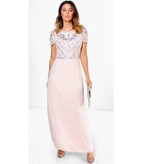 boutique versierde maxi bruidsmeisjes jurk met pailletten, blush