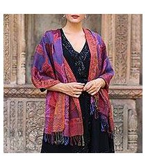 jamawar wool shawl, 'new delhi afternoon' (india)