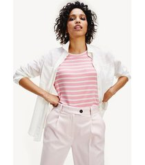 tommy hilfiger women's relaxed fit stripe t-shirt pink grapefruit / white stripe - xs