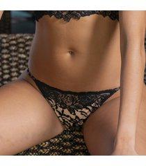 ambra lingerie slips dark /deep nude tanga zwart/bruin 1955