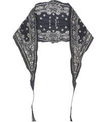 acne studios logo print bandana scarf - black