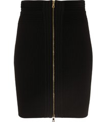 balmain knitted zipped mini skirt - black