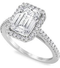 badgley mischka women's 18k white gold, rhodium plated & 3.50 tcw lab-grown diamond engagement ring/size 7 - size 7