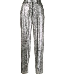 christopher kane sequin snake print trousers - silver
