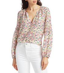 tanya taylor women's illa confetti print blouse - polka dot - size 6