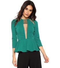 blusa lança perfume peplum verde